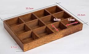 Wood Desk Drawer Organizer Amazon Com Multi Functional 12 Grid Vintage Wooden Storage