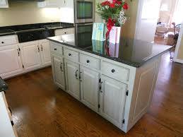 painted kitchen cabinets with contrasting island vintage chic