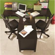 good varnished teak wood double office desk for home office with