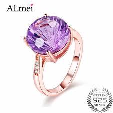amethyst wedding rings almei women 4ct amethyst gold color wedding rings 925