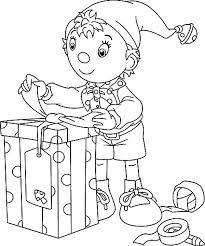 noddy elf preparing christmas present coloring color luna