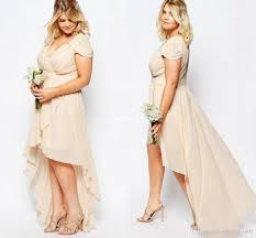champagne chiffon high low country bridesmaid dresses plus