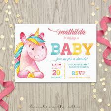 girl baby shower invitations pink unicorn baby shower invitation printable stationery