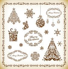 decorative floral elements for christmas vector set free vector in