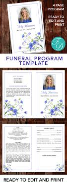 where to print funeral programs blue floral printable funeral program ready to edit print simply