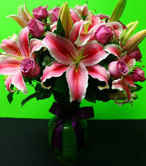 stargazer lilies lavender roses stargazer lilies in maywood ca maggie s flower