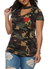 Plus Size Camouflage Clothing Plus Size Camouflage Top With Floral Applique Rainbow