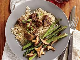 cuisine steak seared sirloin steak bites with miso butter rice recipe myrecipes