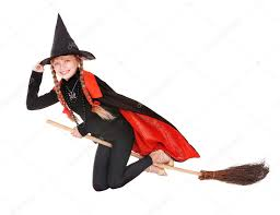 red witch halloween costume child in costume halloween witch fly on broom u2014 stock photo