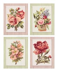 set of four printable vintage shabby chic style flower on wood