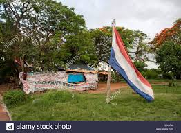 Paraguayan Flag Paraguayan Flag In The Shanty Town Opposite The Government Palace