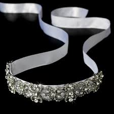 silver headband antique silver rhinestone ribbon wedding headband h8287