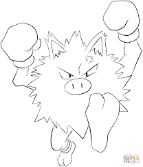 primeape coloring page free printable coloring pages