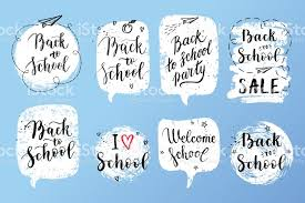 back to school labels greeting cards set vector quote i