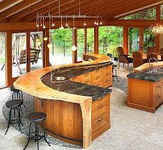 kitchen island bar designs kitchens outdoor rustic kitchen with curved wood bar with