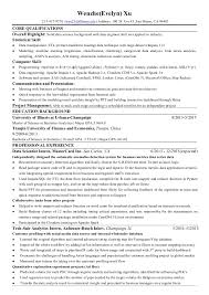 data scientist resume wenzhe xu resume for data science
