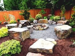 Fence Ideas For Small Backyard Rock Landscaping Ideas Also Pit And Pebble Flooring