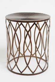 Drum Accent Table by Office 1 In Front Of Sofa With Books Stacked Concentric Metal