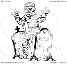 halloween free clipart cartoon of a black and white halloween mummy and tombstones