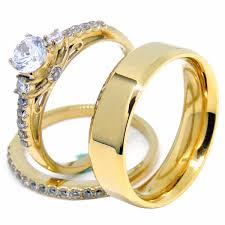 couples ring sets couples ring set womens gold plated 0 6 carat cz ring set