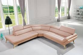 Modern Pink Leather Sectional Sofa