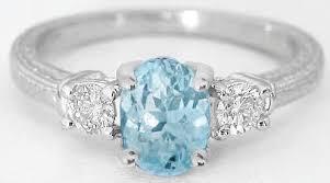 aquamarine and diamond ring aquamarine and diamond ring with vintage engraving in 14k white