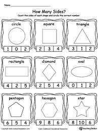shape recognition worksheet identifying and counting shape sides printable worksheets
