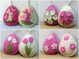 felt easter decoration pink and ivory felt eggs with bunny and