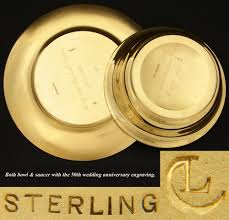 50th anniversary plates you can engrave antique vermeil 14 18k gold on sterling silver bowl plate caviar
