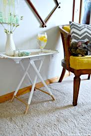thrift store throwdown white and gold accent table thrift store decor how to diy a tray and a stool into a gorgeous white