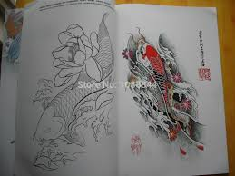wholesale china koi fish flower a4 sketch chinese style tattoo