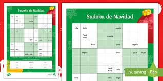 christmas words sudoku activity sheet spanish vocabulary