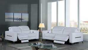 ensemble canapé canapé relax électrique en cuir doa blanc destockpro
