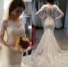 2016 full lace ivory arabic mermaid wedding dress sheer bateau