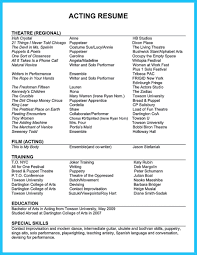 Acting Resumes With No Experience Actor Resume Template Gives You More Options On How To Write Your