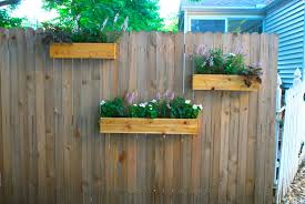 Patio Fence Ideas Hanging Planter Boxes Using Reclaimed With Various Flower Plants
