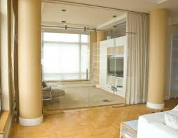 Glass Room Divider Likable Frosted Glass Room Divider Feature Brown Painted Concrete