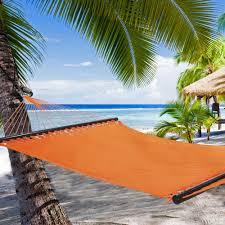 Hanging Hammocks Large Sunset Orange Soft Spun Polyester Caribbean Hammock Dfohome