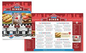 american diner restaurant take out brochure template design