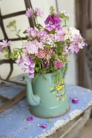 Shabby Chic Flower Pots by Vintage Pails And Flowers For The Home Pinterest Gardens