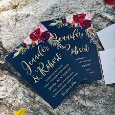 boho navy blue and burgundy floral watercolor wedding invitations