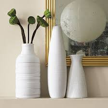 West Elm Vases Half Carved Stripes On Left Pottery Inspiration Pinterest