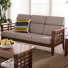 baxton studio larissa mission style 3 seater sofa bench w beige