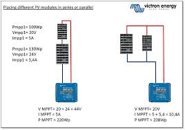 connecting different sized victron energy pv modules series or