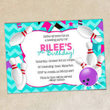 girls bowling party invitation template girly chevron