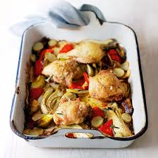 Roasted Vegetable Recipes by Chicken Thighs With Roasted Vegetables Woman And Home