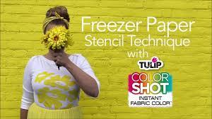 freezer paper stencil technique with tulip colorshot youtube