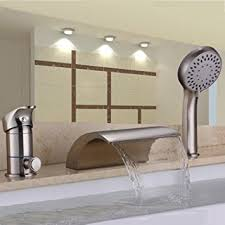 Tub Faucet Hand Shower Hiendure Waterfall Solid Brass Roman Tub Faucet Set With Hand