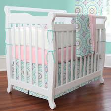 Design Crib Bedding Pretty Mini Crib Bedding Sets Design Polyester Material Aqua