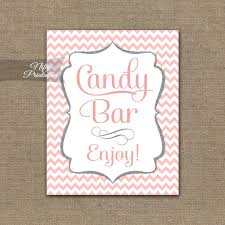 Wedding Buffet Signs by Candy Bar Sign Pink Chevron Candy Buffet Sign Printable